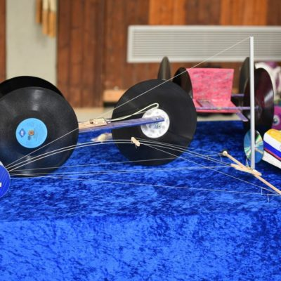Schallplatten und CD als Räder